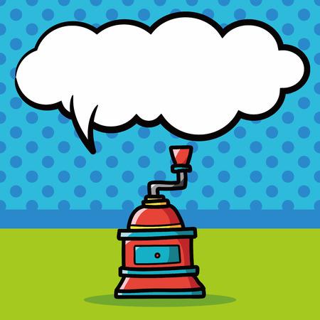 grind: coffee grind machine color doodle, speech bubble