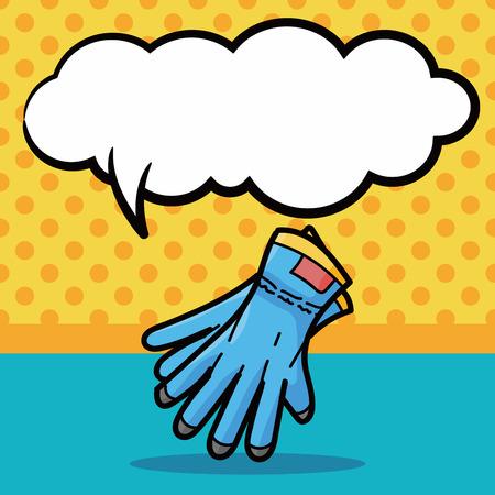 work gloves: work gloves doodle, speech bubble Illustration