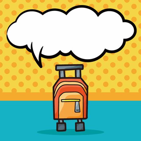 trolley case: Luggage color doodle, speech bubble Illustration