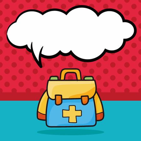 First aid kit doodle, speech bubble