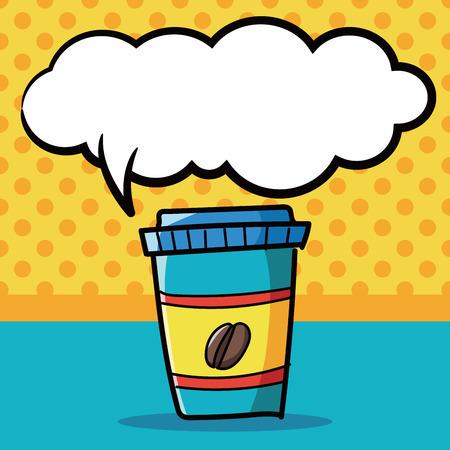 away: take away coffee color doodle, speech bubble