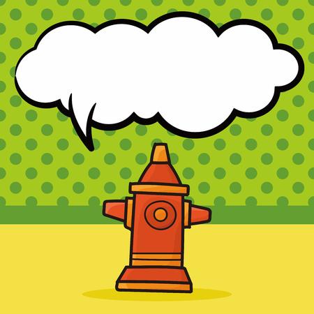 fire hydrant: Fire hydrant color doodle, speech bubble