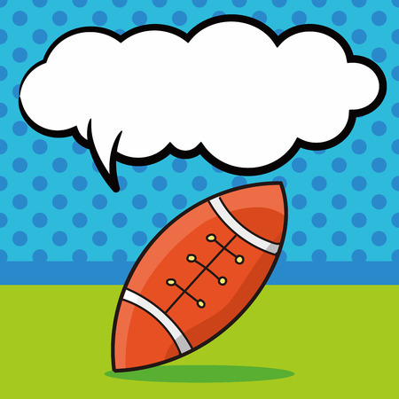 rugby: american football doodle, speech bubble Illustration