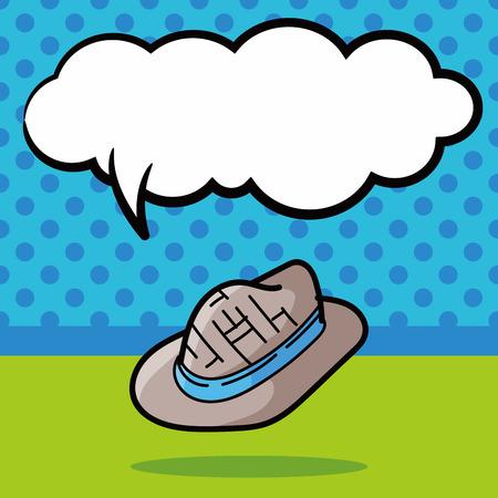 sun hat: sun hat color doodle, speech bubble Illustration