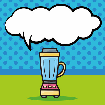 juicer: Juicer color doodle, speech bubble Illustration