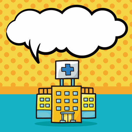 speech bubble hospital: hospital building color doodle, speech bubble