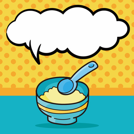 illustration food: baby food doodle, speech bubble
