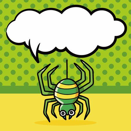 arachnid: spider doodle, speech bubble Illustration