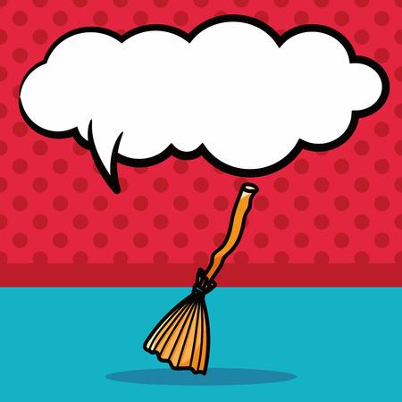 sweeper: broom doodle, speech bubble