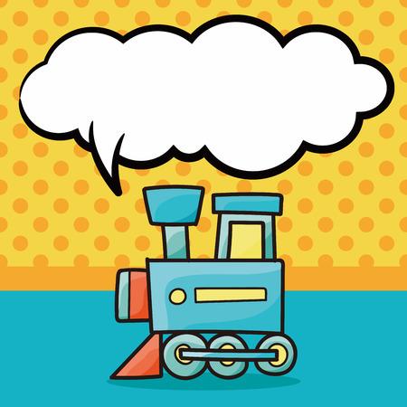 toy train: toy train doodle, speech bubble