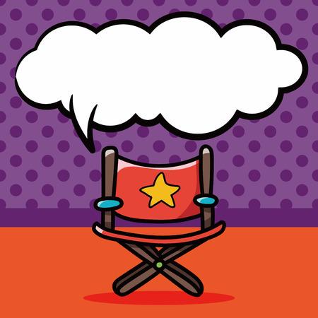 director's chair: Directors chair doodle, speech bubble