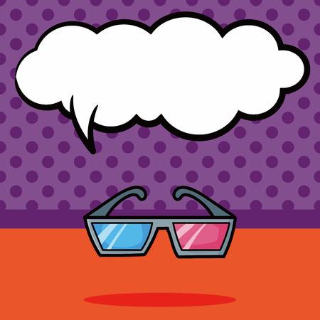 idea icon: 3D glasses doodle, speech bubble