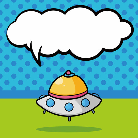 ufo doodle, speech bubble