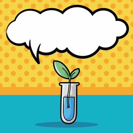 speaking tube: Test tube doodle, speech bubble Illustration