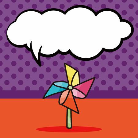 wind wheel: Windmill doodle, speech bubble