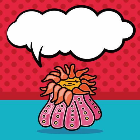 anemones: sea animal Anemones doodle, speech bubble