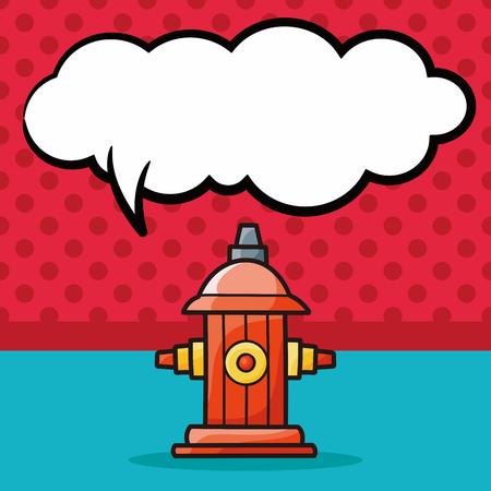 borne fontaine: Feu doodle de bouche d'incendie, bulle