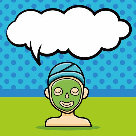 facial mask: Facial mask doodle, speech bubble Illustration