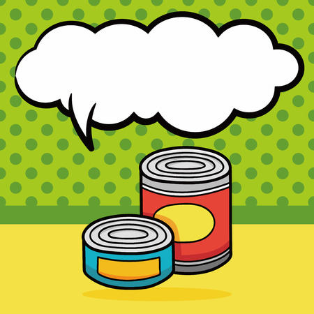 canned: Canned food doodle, speech bubble Illustration