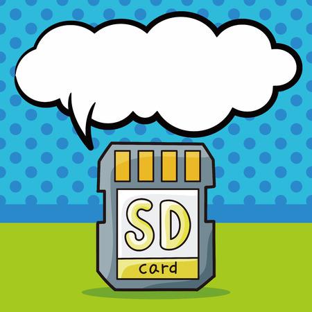 sd card: SD card doodle, speech bubble