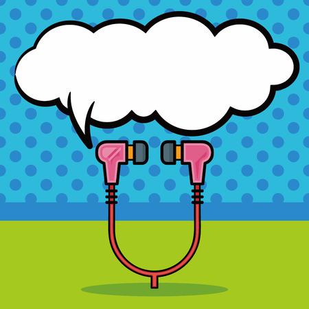 earphone: earphone doodle, speech bubble