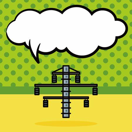 tv tower: Antenna station doodle, speech bubble