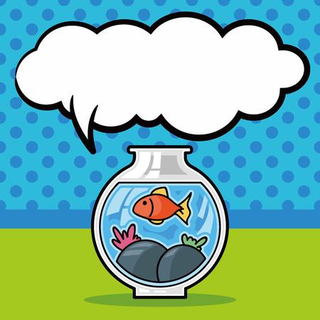 fish bowl: fish bowl doodle, speech bubble Illustration
