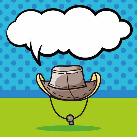 sun hat: sun hat doodle, speech bubble Illustration