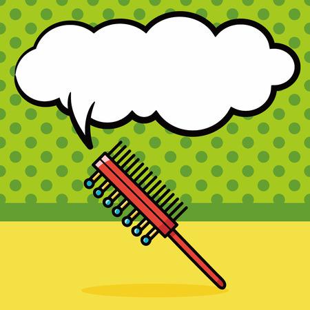 massage symbol: pet brush doodle, speech bubble