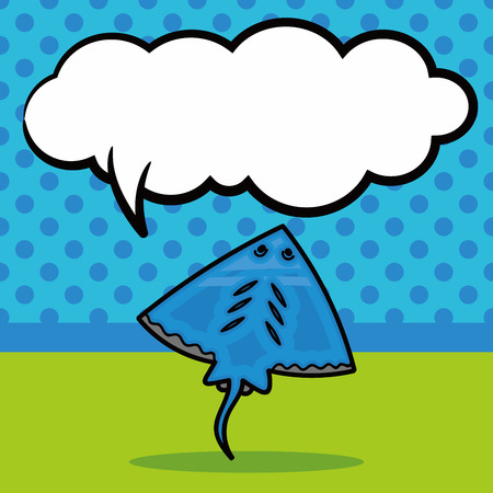 stingray: sea animal Stingray doodle, speech bubble