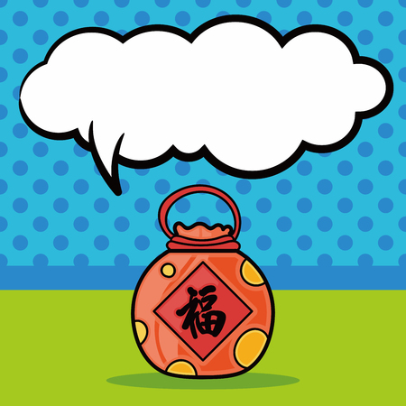 talisman: Chinese talisman doodle, speech bubble Illustration