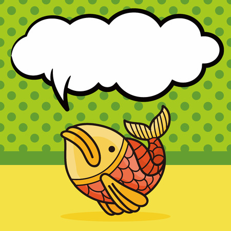 pendant: Chinese fish lucky pendant doodle, speech bubble Illustration