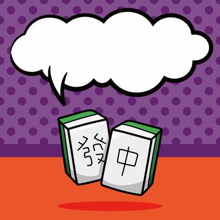 mahjong: Chinese mahjong doodle, speech bubble