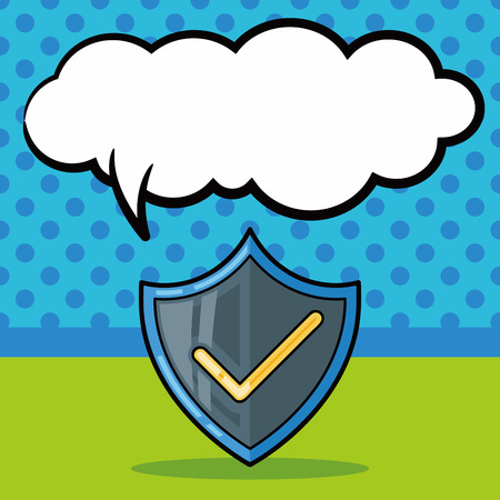 protect: Protect badge doodle, speech bubble