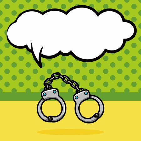 suspect: Handcuffs doodle, speech bubble