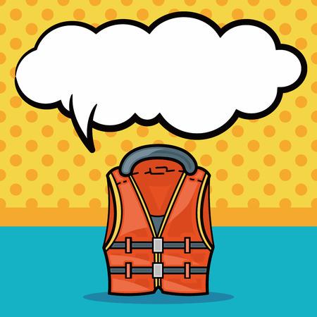 life jackets: Fishing vest doodle, speech bubble
