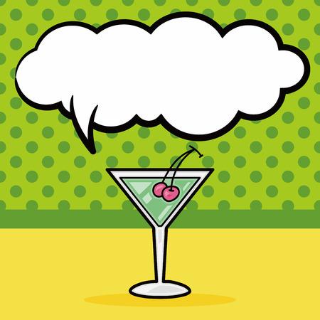 message bottle: champagne doodle, speech bubble