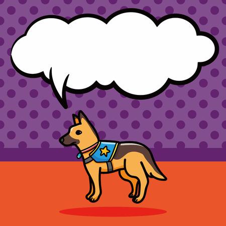 police dog: Police dog doodle, speech bubble