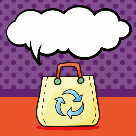 or recycled: Recycled shopping bag doodle, speech bubble Illustration