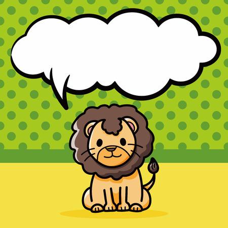 dessin enfants: animaux lion griffonnage, bulle de la parole