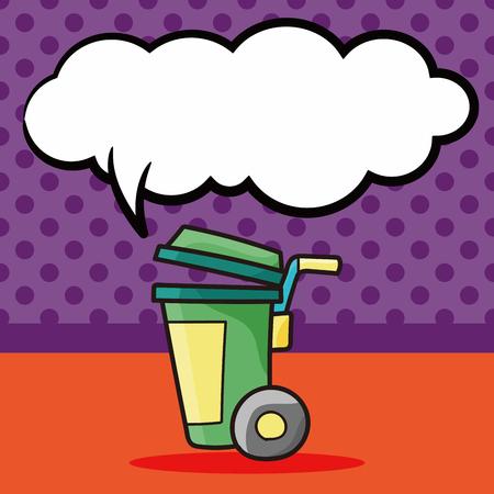 trash can doodle, speech bubble