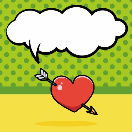 heart arrow: valentines heart arrow doodle, speech bubble