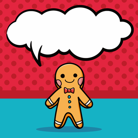 gingerbread man: gingerbread man doodle, speech bubble Illustration