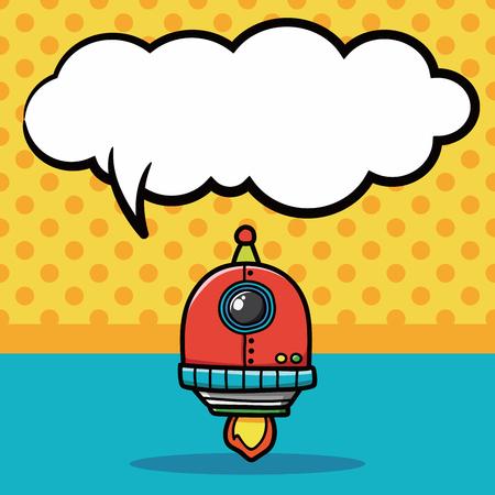 talking robot: robot doodle, speech bubble Illustration