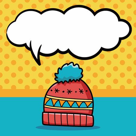 winter hat: winter hat doodle, speech bubble Illustration