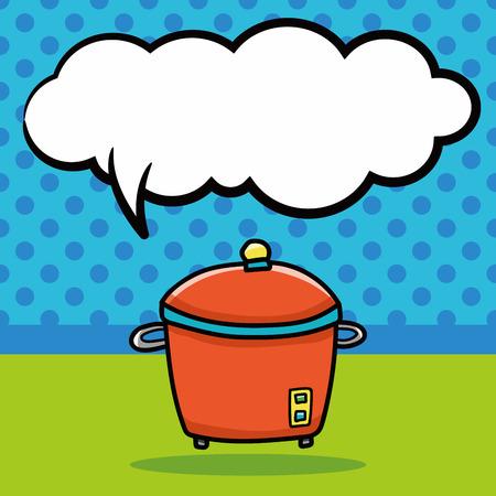 slow food: rice cooker doodle, speech bubble