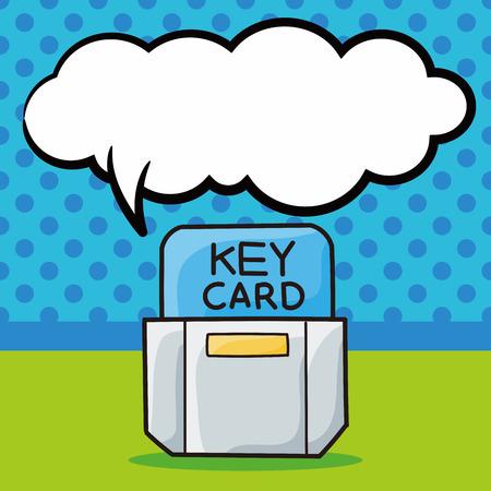 hotel key card doodle, speech bubble