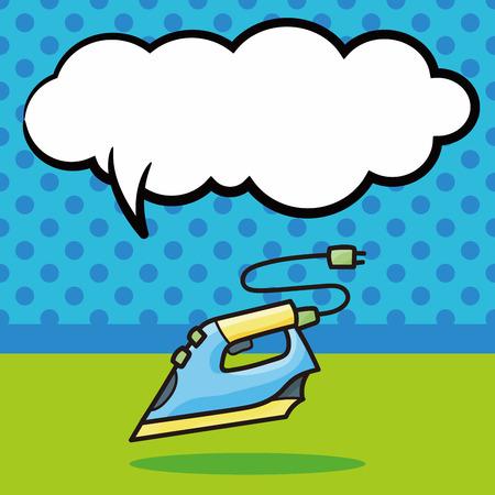iron: Iron doodle, speech bubble Illustration