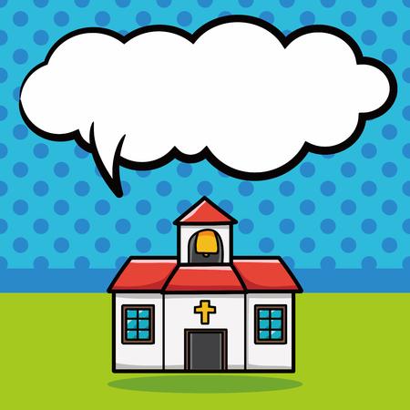 church doodle, speech bubble