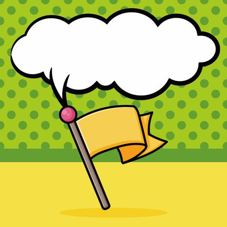 race flag: race flag doodle, speech bubble Illustration